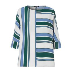Olsen Striped Colourblock Blouse Green