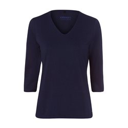 Olsen V Neck Top With 3/4 Sleeve Navy