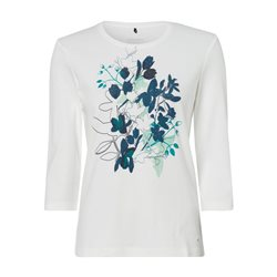 Olsen Round Neck Top With Flower Print Off White