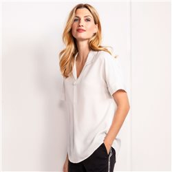 Olsen Blouse Top With Shirt Collar Off White