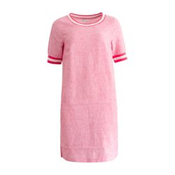 Sandwich Casual Dress With Stiped Piping Pink