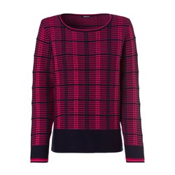Olsen Round Neck Jumper With Colour Block Stripes Navy