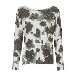 Water Colour Floral Print Jumper Olive