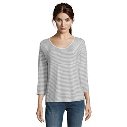 Betty & Co Striped Top Silver