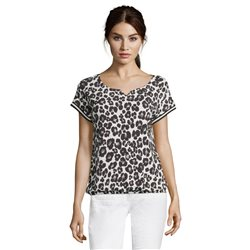 Betty & Co Animal Print Top Black