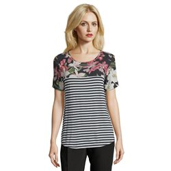Betty & Co Floral And Stripe Top Black