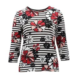 Lebek Floral Print Striped Top Red