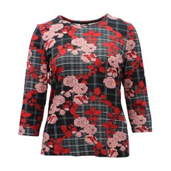 Lebek Tartan Top With Floral Print Black