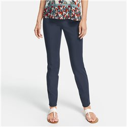 Gerry Weber Vertical Pink Tuck Trousers Navy