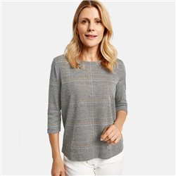 Gerry Weber 3/4 Sleeve Check Top Grey
