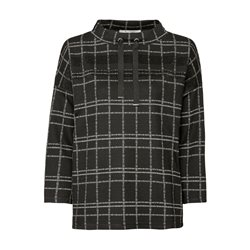 Monari Checked Top With Rhinestone Detail Black