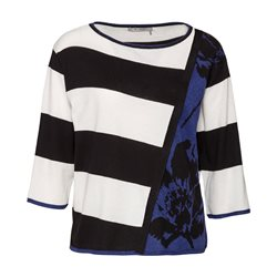 Monari Flower And Stripe Jumper Navy