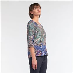 Sandwich Multi Colour Design Top Green