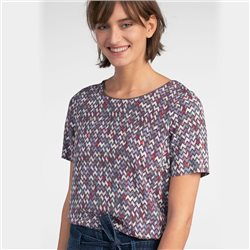 Sandwich Zig Zag Pattern Top Grey