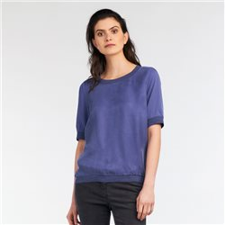 Sandwich Woven Collar Top Violet