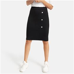 Taifun Pencil Skirt With Button Placket Black
