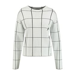 Taifun Large Check Jumper Off White