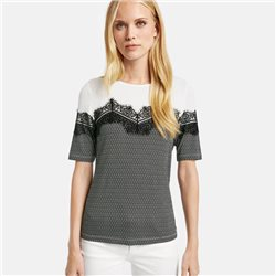 Taifun 1/2 Sleeve With Contrast Lace Black