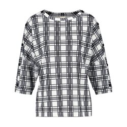 Taifun Checked Top With Button Sleeve Detail Black