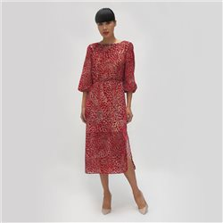 Fee G Velvet Animal Print Dress Red
