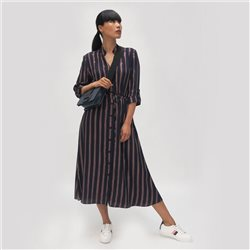 Fee G Striped Shirt Dress Navy