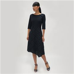 Fee G Abstract Button Dress Navy
