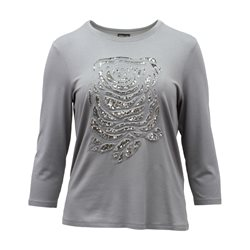 Lebek Sequined Rose Top Grey