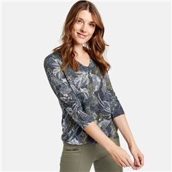 Gerry Weber 3/4 Sleeve Top With Burnout Effect Blue