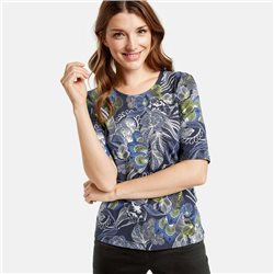 Gerry Weber Organic Feather Pattern Top Blue