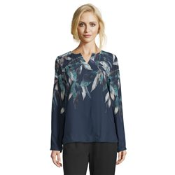Betty & Co Leaf Print V Neck Blouse Navy