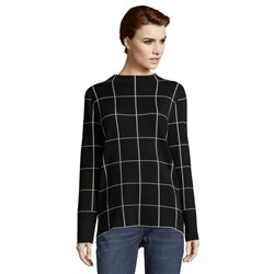 Betty & Co High Neck Check Jumper Black