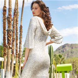 Fee G Sequined Dress Silver