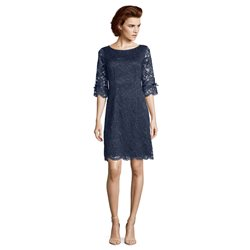 Vera Mont Lace Bow Detail Dress Navy