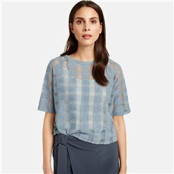 Taifun Mesh Top With Check Design Blue