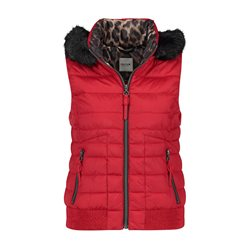 Taifun Quilted Bodywarmer With Hood Red