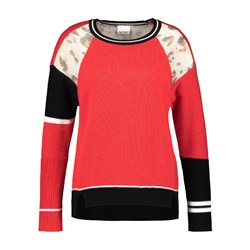 Taifun Colour Block Jumper With Animal Print Red