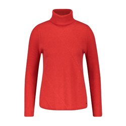 Taifun Knitted Roll Neck Jumper Red