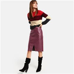 Taifun Faux Leather Skirt Wine