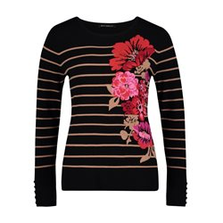 Betty Barclay Floral Motif Jumper Black