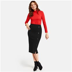 Gerry Weber Knit Skirt With Side Buttons Black
