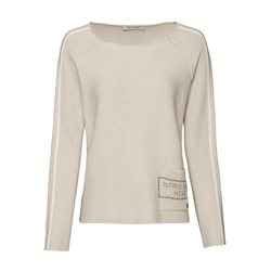 Monari Roundneck Jumper With Rhinestone Pocket Biscuit