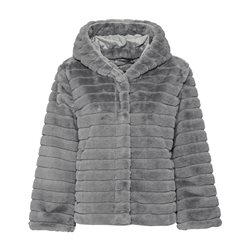 Monari Faux Fur Jacket With Hood Silver