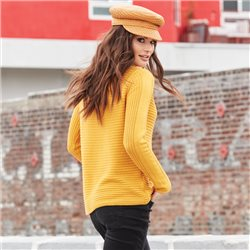 Monari Rib Jumper With Boat Neckline Yellow