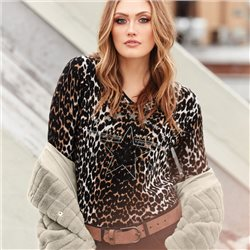 Monari V Neck Animal Print Jumper Black