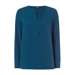 Olsen Long Sleeved Top With Decorative Neckline Teal