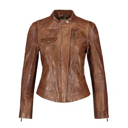 Taifun Leather Jacket With Vintage Finish Coffee