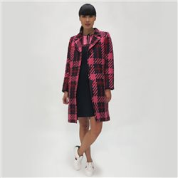 Fee G Checked Dress Coat Navy
