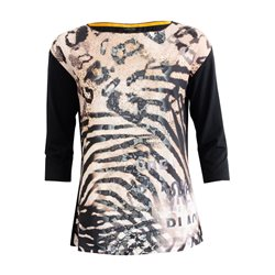 Lebek Animal Print Top With Embroidered Detailling Black