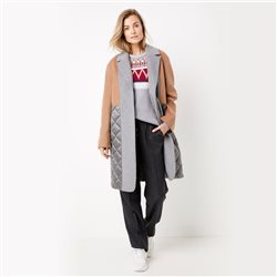 Gerry Weber Wool Mix Coat With Patch Panels Grey