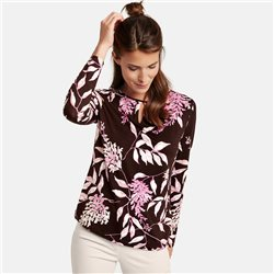 Gerry Weber Long Sleeve Top With Floral Pattern Brown